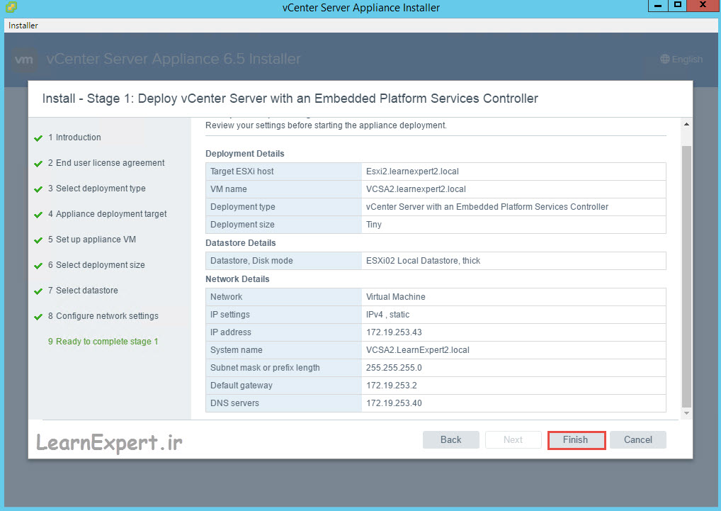 vcenter 6.5 installation 16