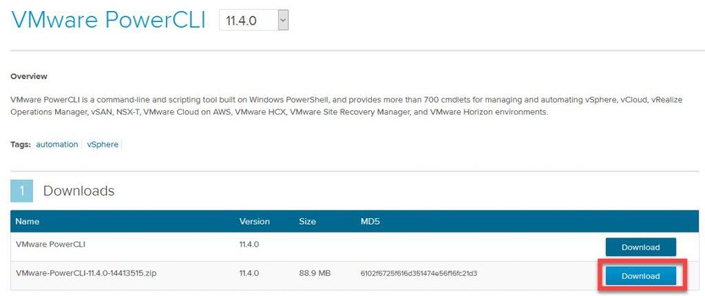 دانلود zip فایل PowerCLI از سایت VMware code